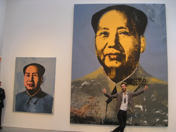 Photographer Alexis Dahan fools around with Mao at Warhol opening at the Brant Foundation/photo by Susan Kirschbaum